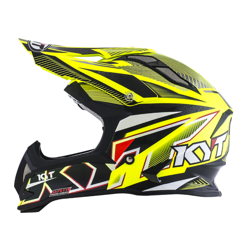 KYT Helm MX Strike Eagle Stripe Yellow Fluo