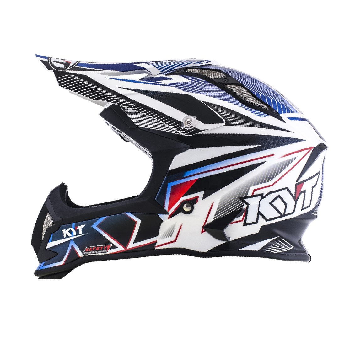 KYT Helm MX Strike Eagle Stripe White-Blue