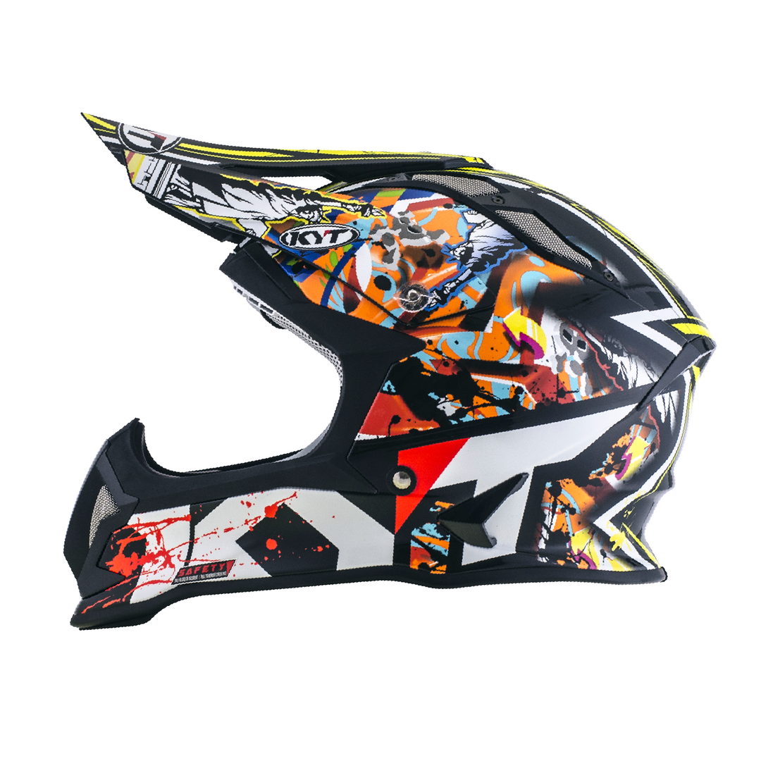 KYT Helm MX Strike Eagle New-York Red-Fluo