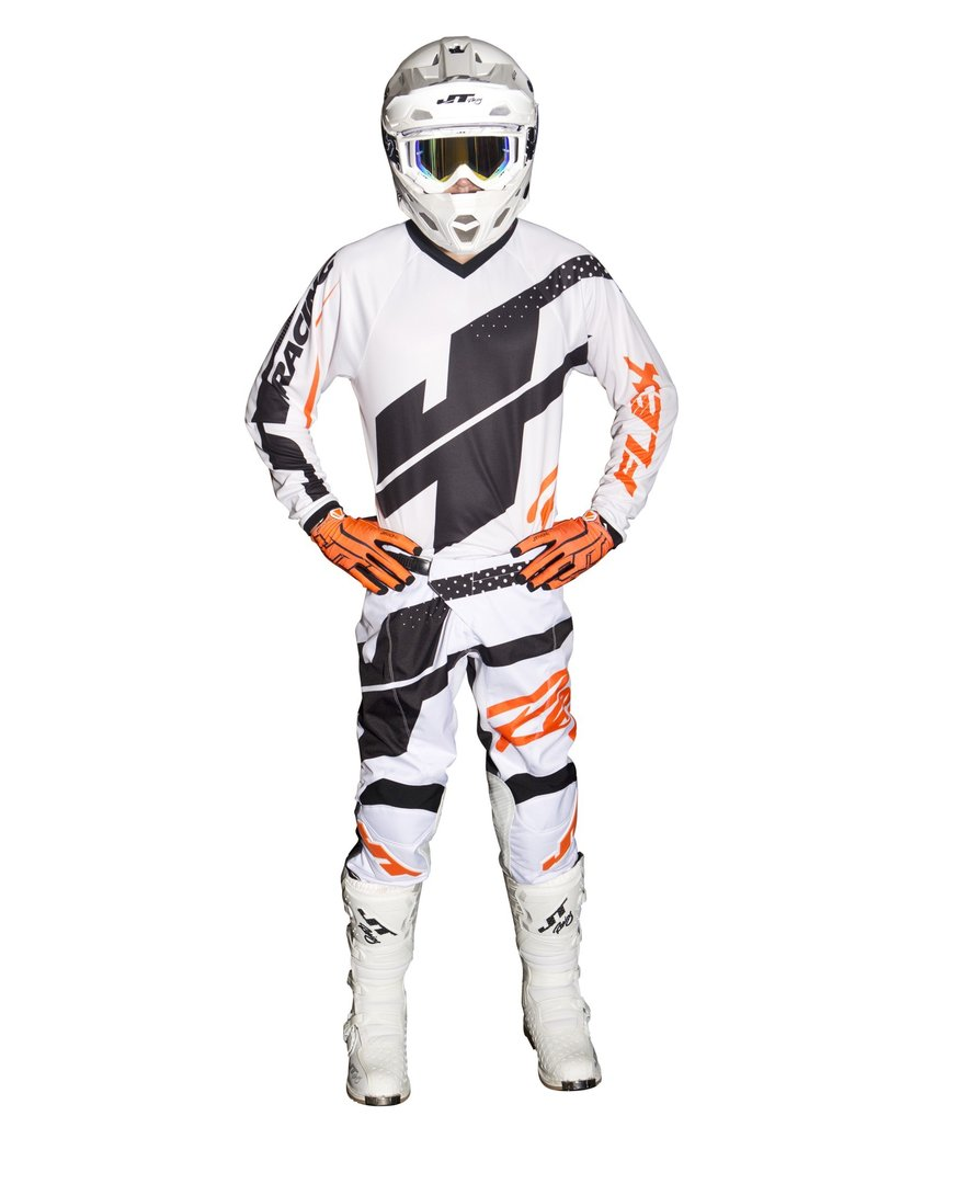 JT RACING 2018 MX Combo Flex Hi-Lo Weiss/Orange/Schwarz