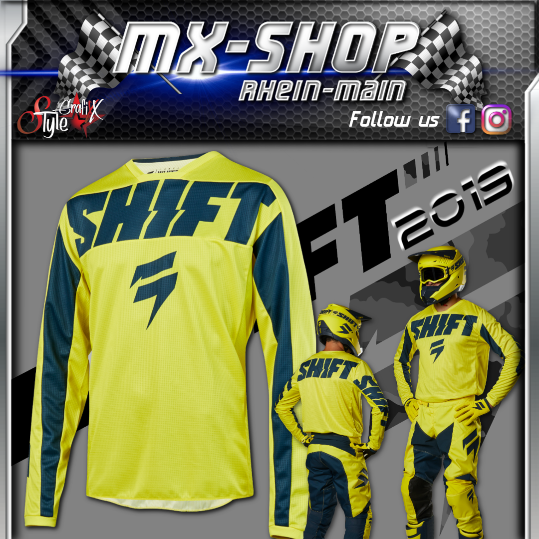 SHIFT Kinder MX-Combo WHIT3 York 2019 Gelb-Navy