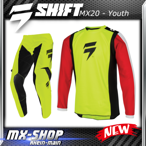 SHIFT MX Kinder-Combo WHIT3 RACE 2020 Flo-Yellow
