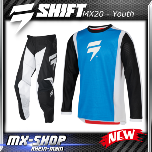 SHIFT MX Kinder-Combo WHIT3 RACE 2020 Blau-Schwarz-Rot