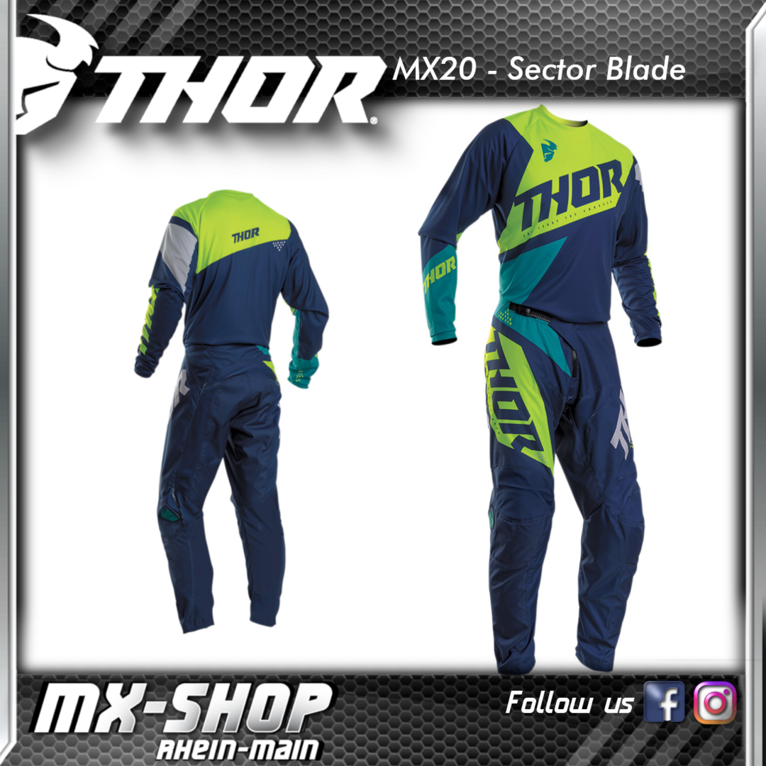THOR MX-Combo SECTOR BLADE NAVY/ACID 2020