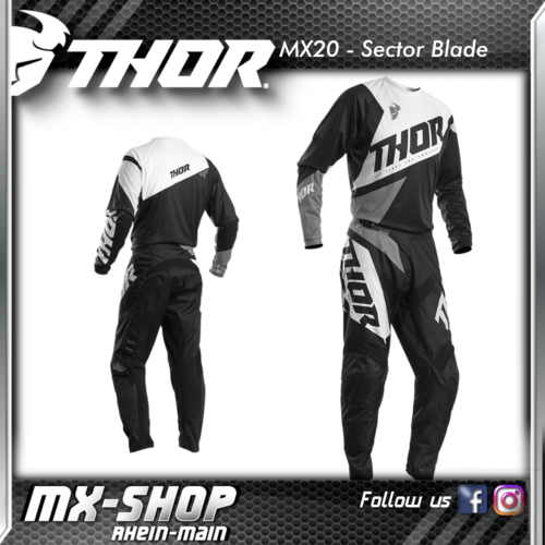 THOR MX-Combo SECTOR BLADE BLACK/WHITE 2020