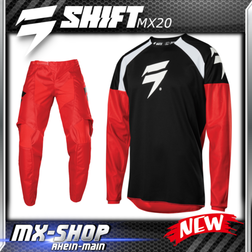 SHIFT MX Kinder-Combo WHIT3 RACE 2020 Rot-Schwarz