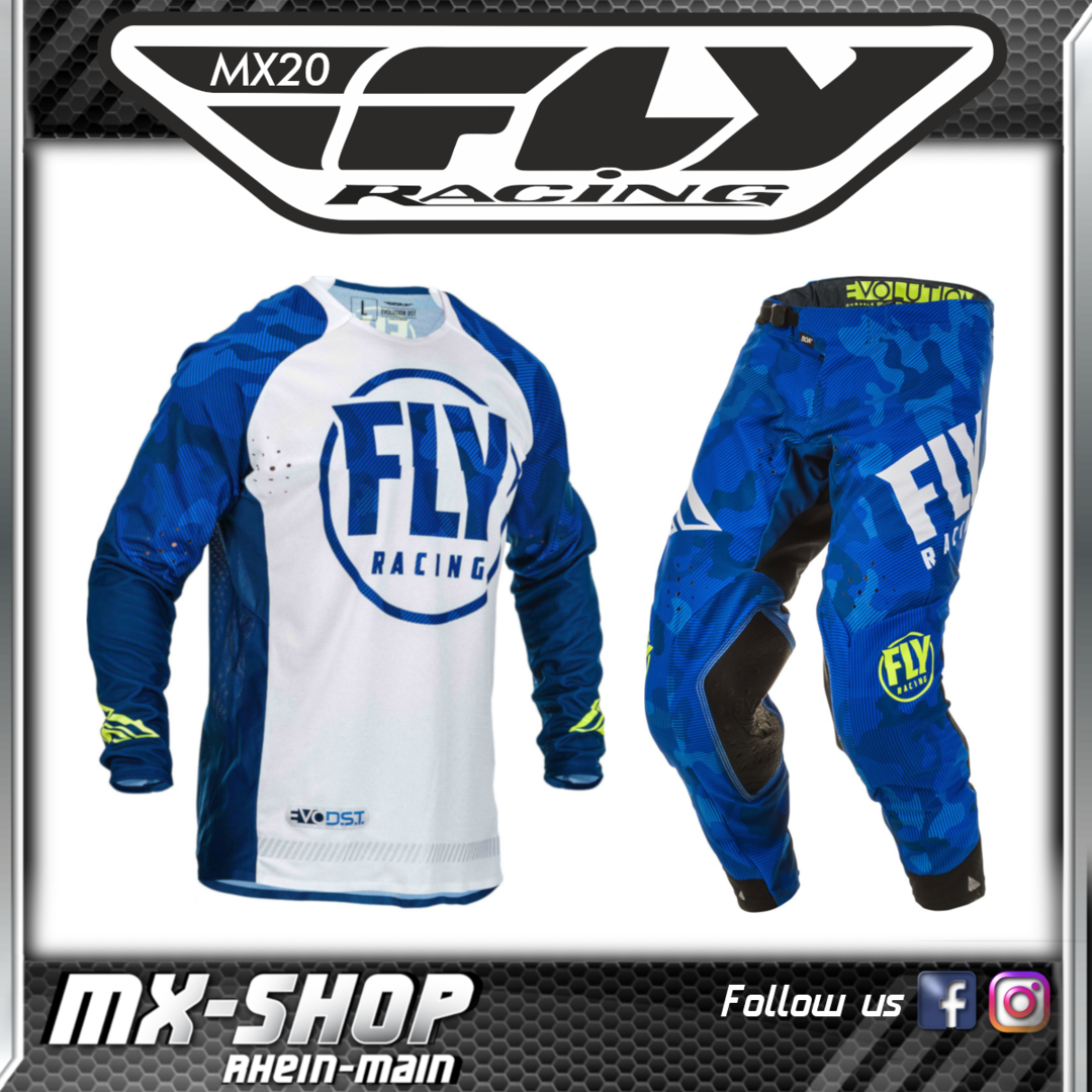 FLY RACING MX-Combo Evolution DST blau-weiß