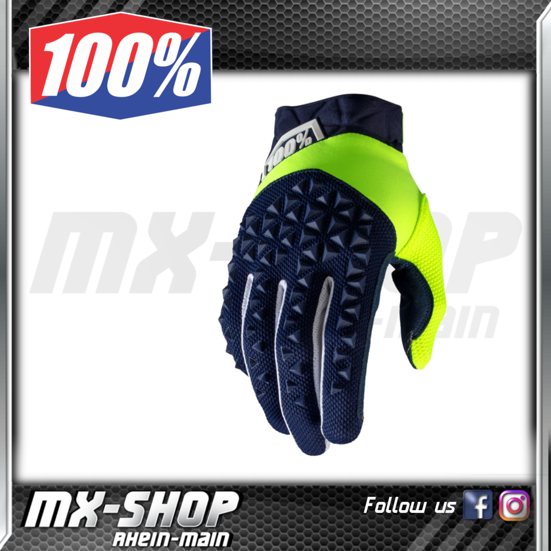 100% Handschuhe AIRMATIC Navy/Fluo Yellow