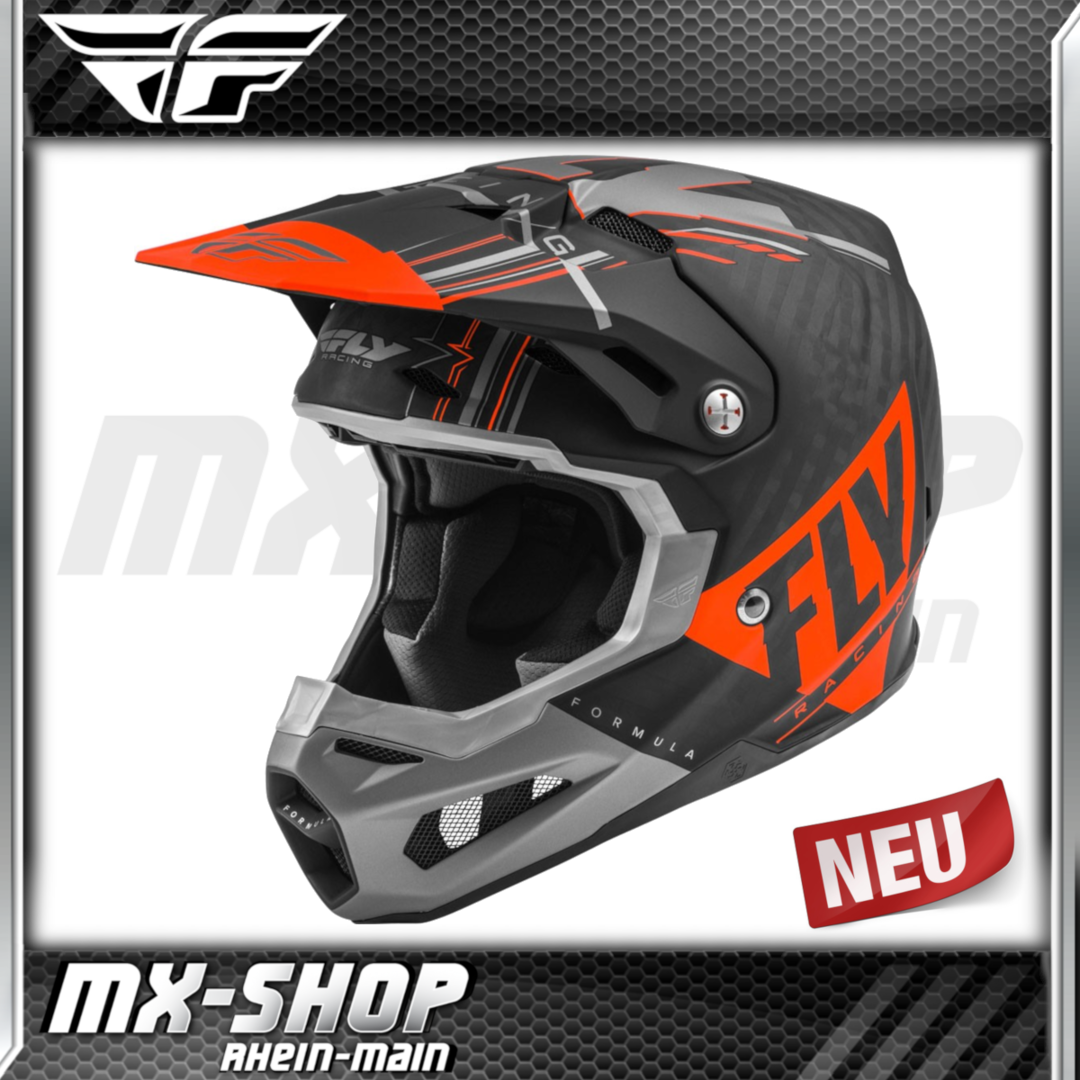 Fly Racing MX-Helm Formula Vector matt orange-grau-schwarz