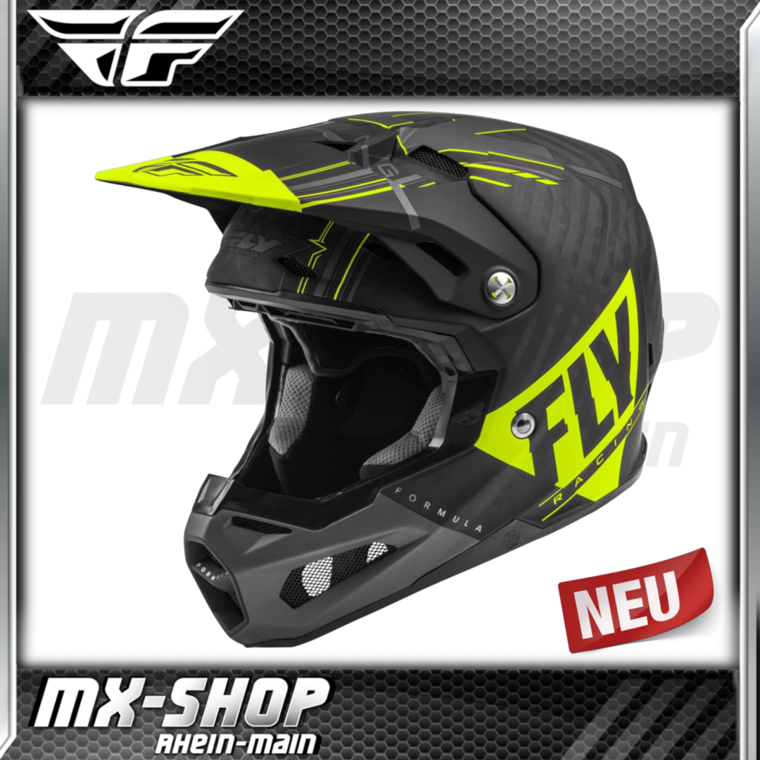 Fly Racing MX-Helm Formula Vector matt hi-vis-grau-schwarz