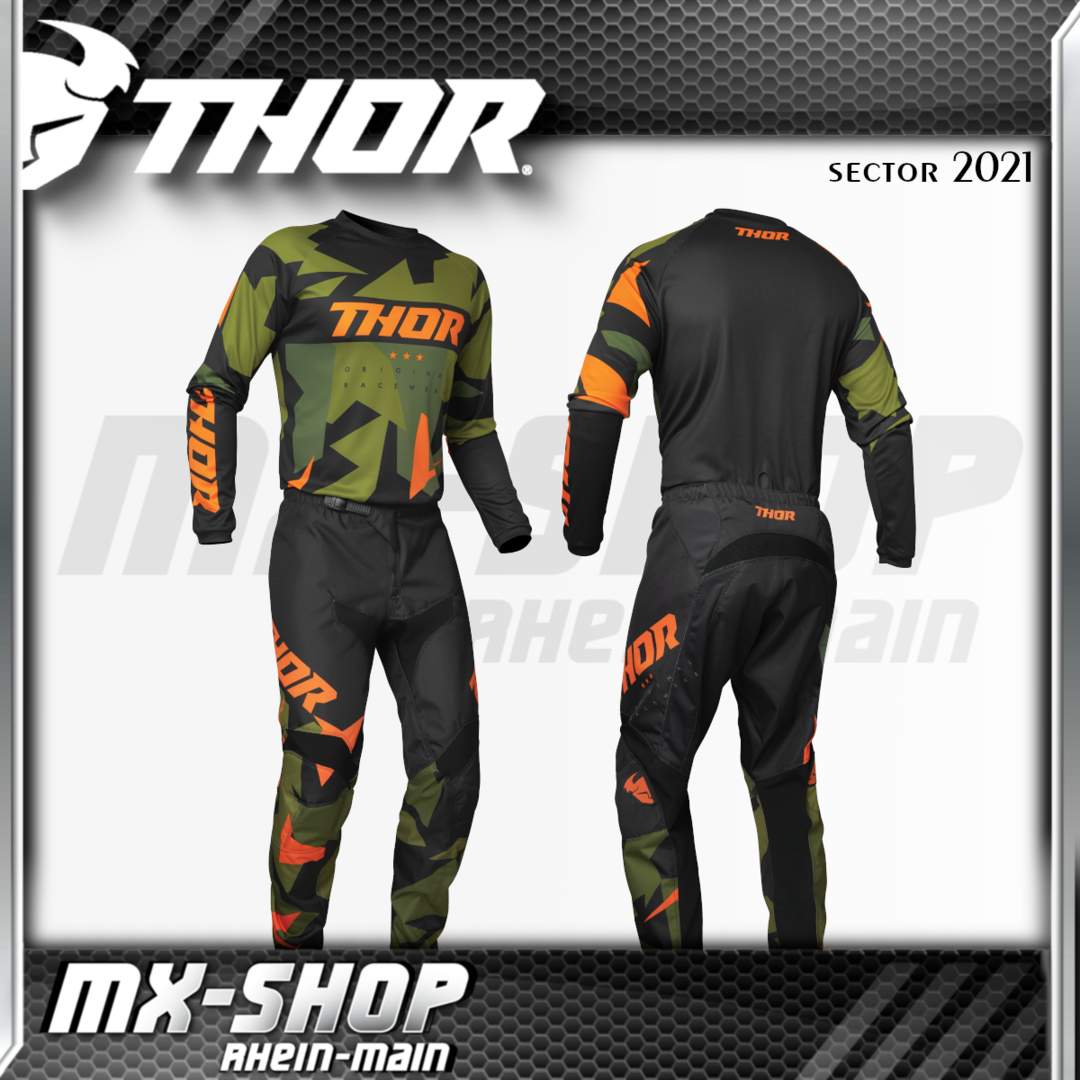 THOR MX-Jersey & Hose SECTOR WARSHIP GREEN/ORANGE 2021
