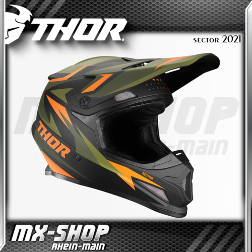 THOR MX-Helm SECTOR WARSHIP GREEN/ORANGE 2021