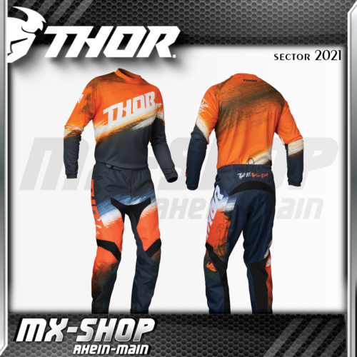 THOR Kinder MX-Jersey & Hose SECTOR VAPOR ORANGE/MIDNIGHT 2021
