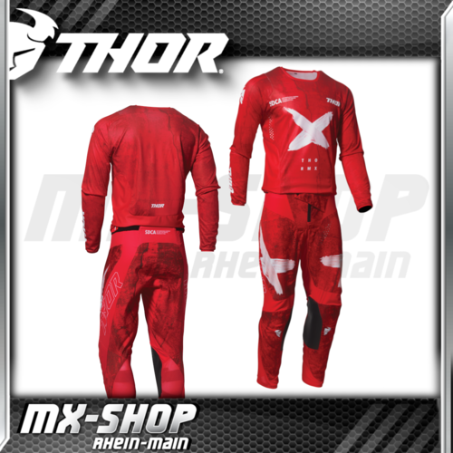 THOR MX-Jersey & Hose PULSE HZRD Red/White